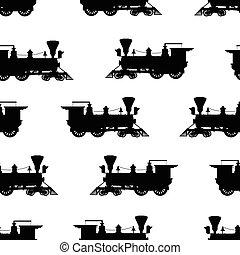 silueta, vapor, locomotiva, seamless, fundo