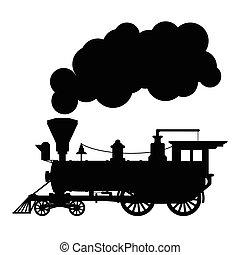 silueta, vapor, locomotiva