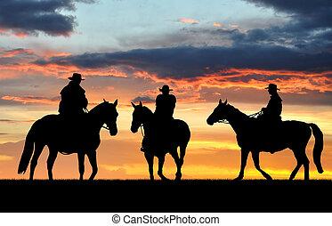 silueta, vaqueiros