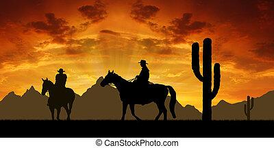 silueta, vaqueros, con, caballos