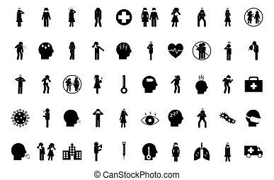 silueta, vector, 19, diseño, estilo, conjunto, covid, icono