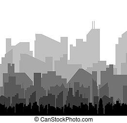 silueta, vector, city.
