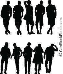 silueta, vector, -, colección, hombres