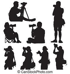 silueta, vector, fotógrafo