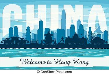 silueta, vector, kong, ciudad, hong, contorno, china