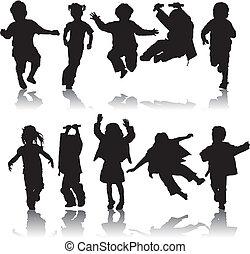 silueta, vector, niñas, niños