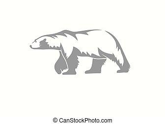 silueta, vector, oso, ilustración, polar