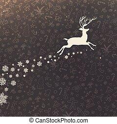 silueta, venado, mano, fondo., diseño, retro, alegre, dibujado, tarjeta de navidad