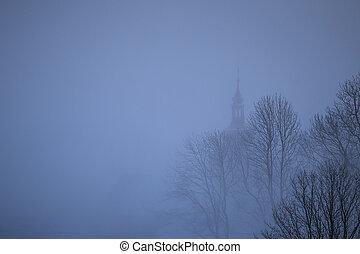silueta, vesnice, strom, mlha, církev, malý