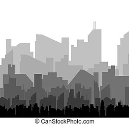silueta, vetorial, city.