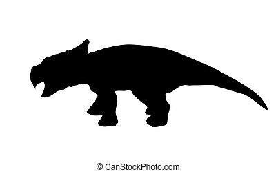 silueta, vetorial, dinosaur., illustration., pretas