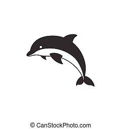 silueta, vetorial, golfinho, ícone