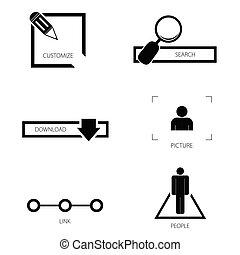 silueta, vetorial, jogo, ícone