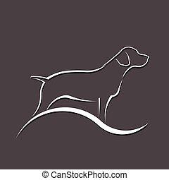 silueta, vetorial, logo., cão, ilustração