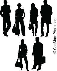 silueta, vetorial, -, pessoas negócio