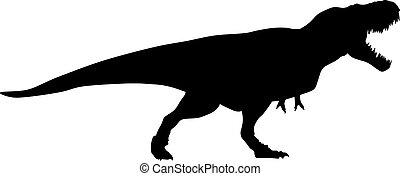 silueta, vetorial, pretas, raptor, ilustração