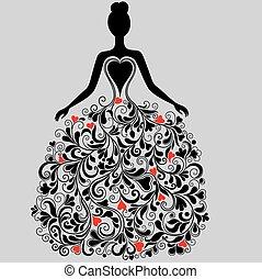 silueta, vetorial, vestido, elegante