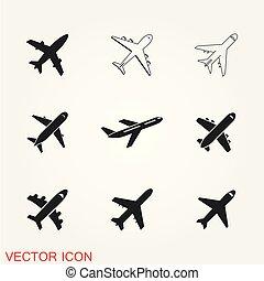 silueta, viagem, avião, vetorial, decolagem, airplan, elemento, símbolo, ícone