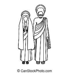 silueta, virgen maria, y, santo, joseph, posición