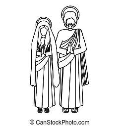 silueta, virgen maria, y, santo, joseph, rezando