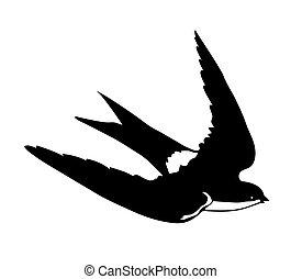 silueta, voando, andorinhas, vetorial, fundo, branca