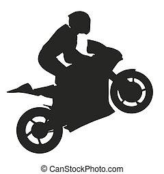 silueta, wheel., cavaleiro, biker, vetorial, frente, levanta