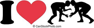 silueta, wrestling, amor
