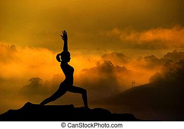 silueta, yoga, mujer