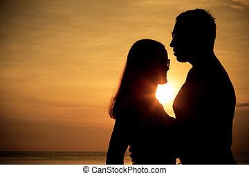 silueta, západ slunce, obránce, čas, láska, lehký, dvojice, moře