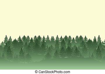 siluetas, árboles, bosque, plano de fondo