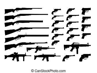 siluetas, arma de fuego, vector