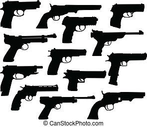 siluetas, armas de fuego