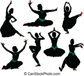 siluetas, bailarín, indio