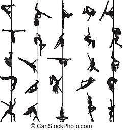 siluetas, bailarines, conjunto, poste