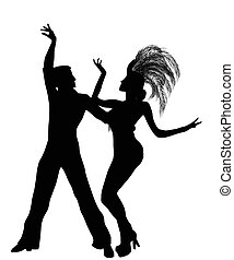 siluetas, bailarines, mambo