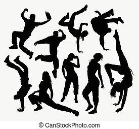 siluetas, baile, estilo libre