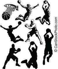 siluetas, baloncesto, hombres