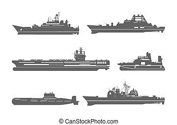 siluetas, barcos, naval