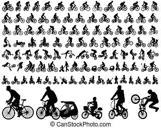 siluetas, bicyclists, colección