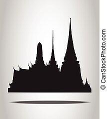 siluetas, blanco, tailandés, templo, plano de fondo