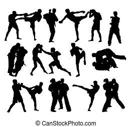 siluetas, boxeo, judo, libre