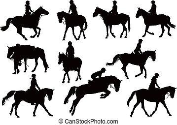 siluetas, caballo, diez, jinetes