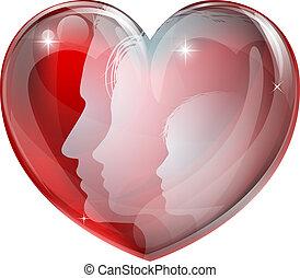 siluetas, caras, corazón, familia
