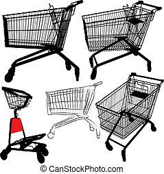 siluetas, carro de compras