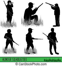 siluetas, cazador