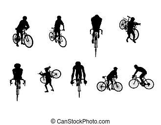 siluetas, ciclismo, aislado