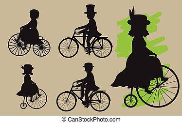 siluetas, ciclistas