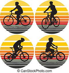 siluetas, ciclistas, plano de fondo, -