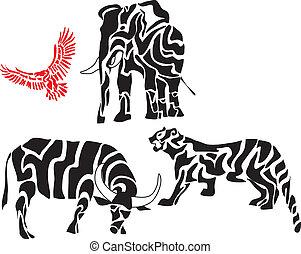 siluetas, conjunto, animal, africano