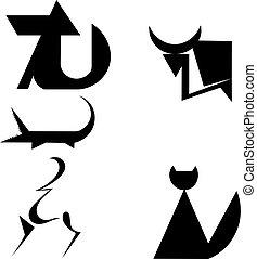 siluetas, conjunto, animal